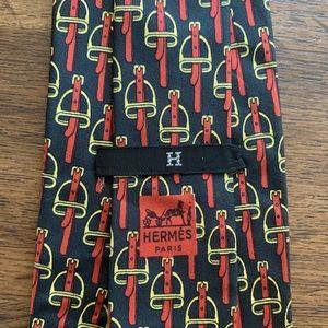 "Hermès Classic ""Saddle Stirrup"" Silk Tie"
